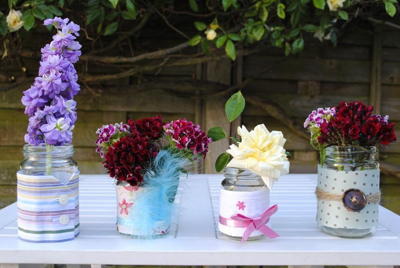 Jam jar vases group