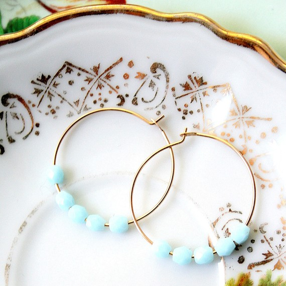Powder blye hoop earrings