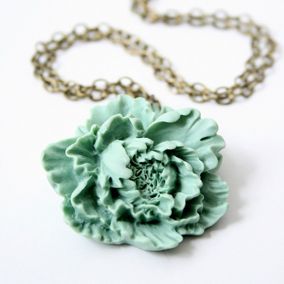 Sea foam peony necklace