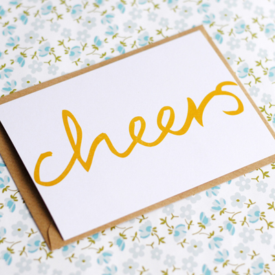 Hand lettered postcard cheers