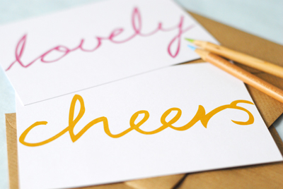 The green gables hand lettered postcards