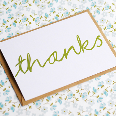 Hand lettered postcard thank you