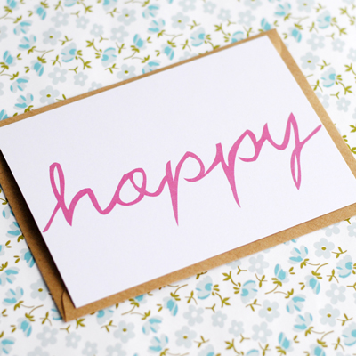 Hand lettered postcard happy