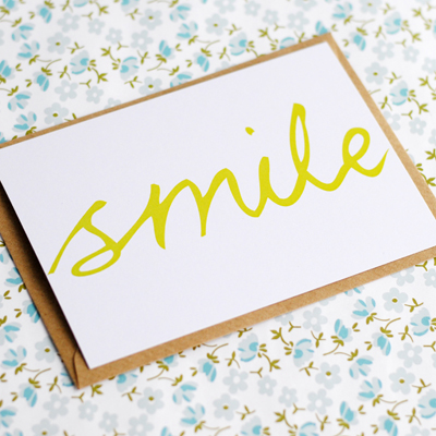 Hand lettered postcard smile